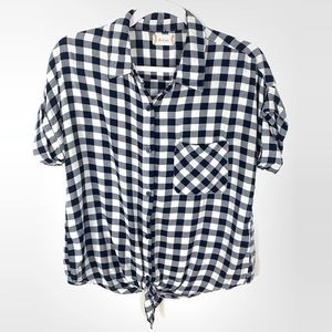 Altar'd State | Navy White Check Tie-Front Shirt